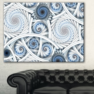 Designart 'White Spiral with Blue Fractal Art' Abstract Digital Canvas Print