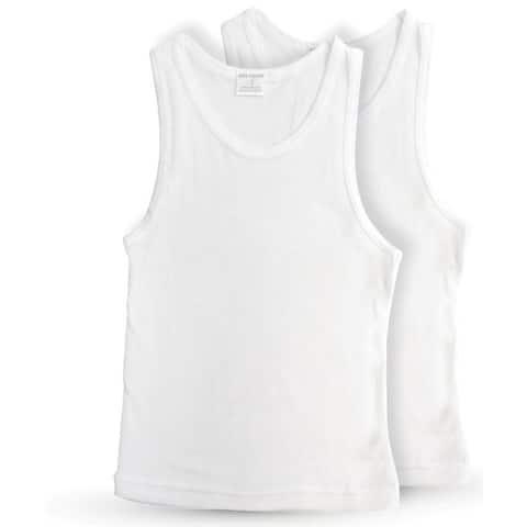 Key Chain Boys' Classic White Cotton Tank Top Undershirt (Pack of 2)