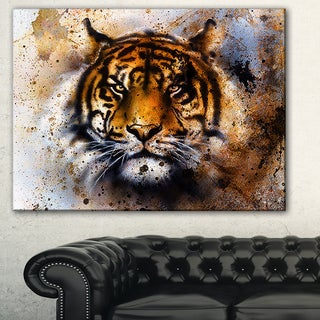 Designart 'Tiger Collage with Rust Design' Animal Digital Art Canvas Print