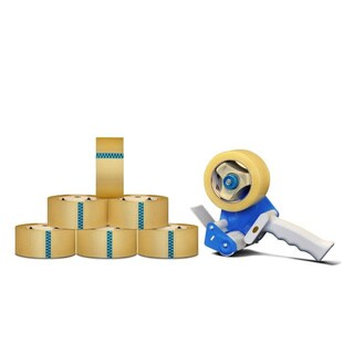 12 Rls Package Shipping Box Packing Tape with Dispenser 2-inch x 110 Yards Clear Carton Sealing