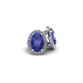 10k White Gold 2 TGW Oval Shape Tanzanite and Halo Diamond Stud Earrings