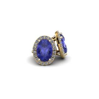 10k Yellow Gold 2ct Oval Shape Tanzanite and Halo Diamond Stud Earrings