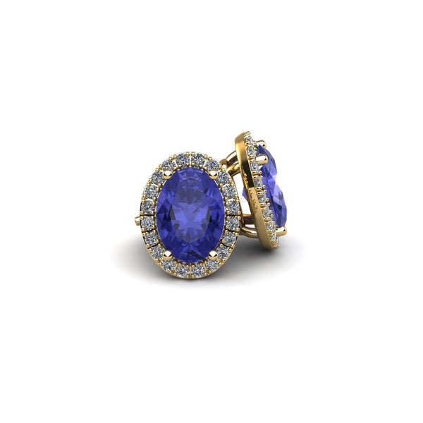 14k Yellow Gold 2 TGW Oval Shape Tanzanite and Halo Diamond Stud Earrings