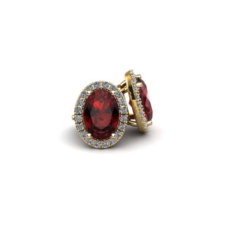 14k Yellow Gold 2 1/4ct Oval Shape Garnet and Halo Diamond Stud Earrings