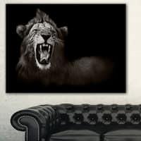 Designart 'Lion Displaying Fiery Face' Animal Digital Art Canvas Print