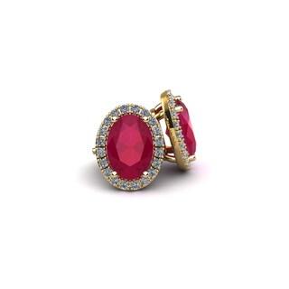 14k Yellow Gold 2ct Oval Shape Ruby and Halo Diamond Stud Earrings