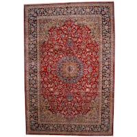 Herat Oriental Persian Hand-knotted 1960s Semi-antique Isfahan Wool Rug (11'1 x 16'4) - 11'1 x 16'4