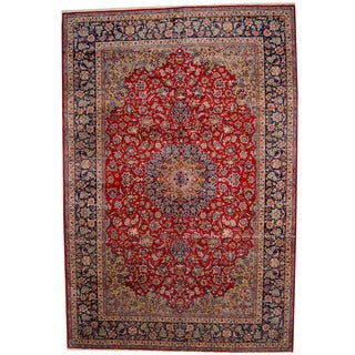 Herat Oriental Persian Hand-knotted 1960s Semi-antique Isfahan Wool Rug (11'1 x 16'4)