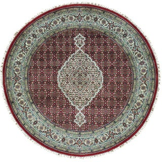 Wool and Silk Red Tabriz Mahi All Over Design Rug (5' Round)