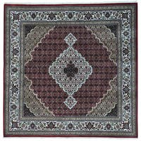 "Tabriz Mahi Square Wool and Silk Hand-knotted Oriental Rug - 8'9"" x 8'9"""