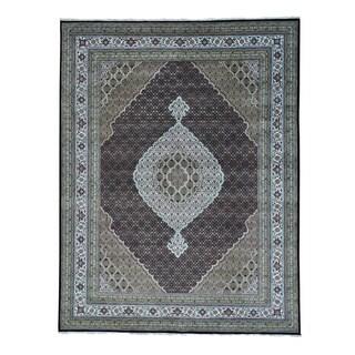 Tabriz Mahi Wool and Silk Hand-knotted Oriental Rug (9'2 x 11'10)