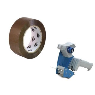 6 Rolls 3-inch x 110 Yards Tan Packing Tape 2 Mil with Free 3-inch Tape Gun Dispenser