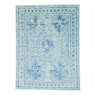 Modern Broken Design Kashan Wool and Silk Hand-knotted Rug (9' x 12'1)