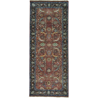 Wide Sickle Leaf 17th Century Design Oriental Runner Rug (4'1 x 10')