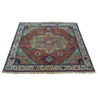 Antiqued Heriz Pure Wool Square Hand-knotted Oriental Rug (4'1 x 4'1)