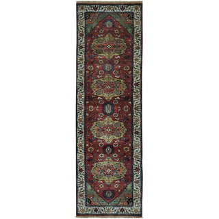 Antiqued Heriz Hand-knotted Pure Wool Oriental Runner Rug (3'1 x 10')