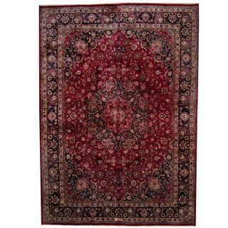 Herat Oriental Persian Hand-knotted 1960s Semi-antique Mashad Wool Rug (11'3 x 16')