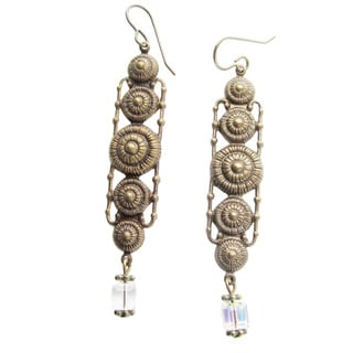 Handmade 'The Kristie' Crystal Swirl Dangle Earrings