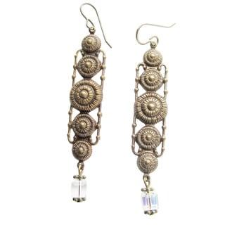 Handmade 'The Kristie' Crystal Swirl Dangle Earrings