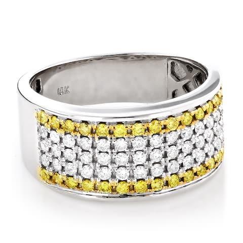 Luxurman 10k Gold 1 1/2ct TDW White and Yellow Diamond Wedding Band