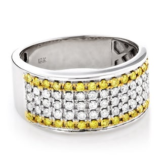 Luxurman 10k Gold 1 3/4ct TDW White and Yellow Diamond Wedding Band