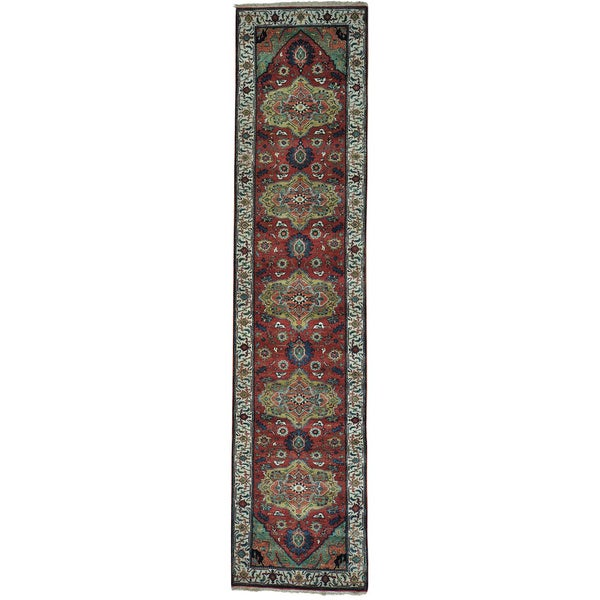 Pure Wool Antiqued Heriz Hand-knotted Oriental Runner Rug - 2'8 x 11'7