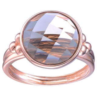Collette Z Rose Gold Overlay Smokey Cubic Zirconia Ring - Coffee