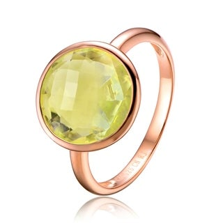 Collette Z Sterling Silver with Rose Gold Plated Yellow Round Cubic Zirconia Solitaire Engagement Ring