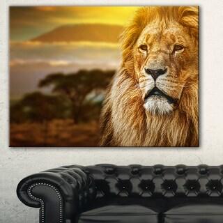Designart 'Lion and Mount Kilimanjaro' Animal Digital Art Canvas Print