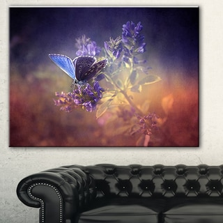 Vintage Butterfly' Digital Art Floral Canvas Print - Purple