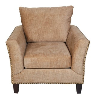 Porter Southern Accent Chenille Look Camel Microfiber Chair with Nailhead Trim
