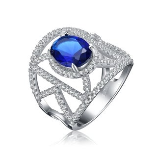 Collette Z Sterling Silver Blue and Clear Cubic Zirconia Art Deco Ring