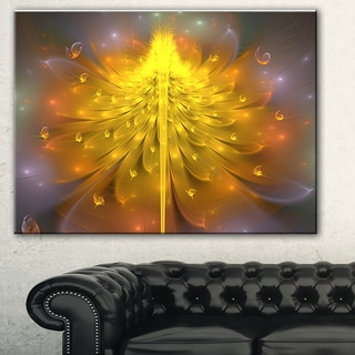 Yellow Fractal Flower with Pink' Floral Digital Art Canvas Print