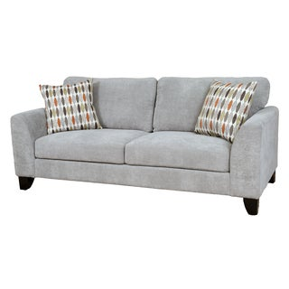 Porter Brighton Light Grey Textured Microfiber Contemporary Sofa with 2 Woven Accent Pillows