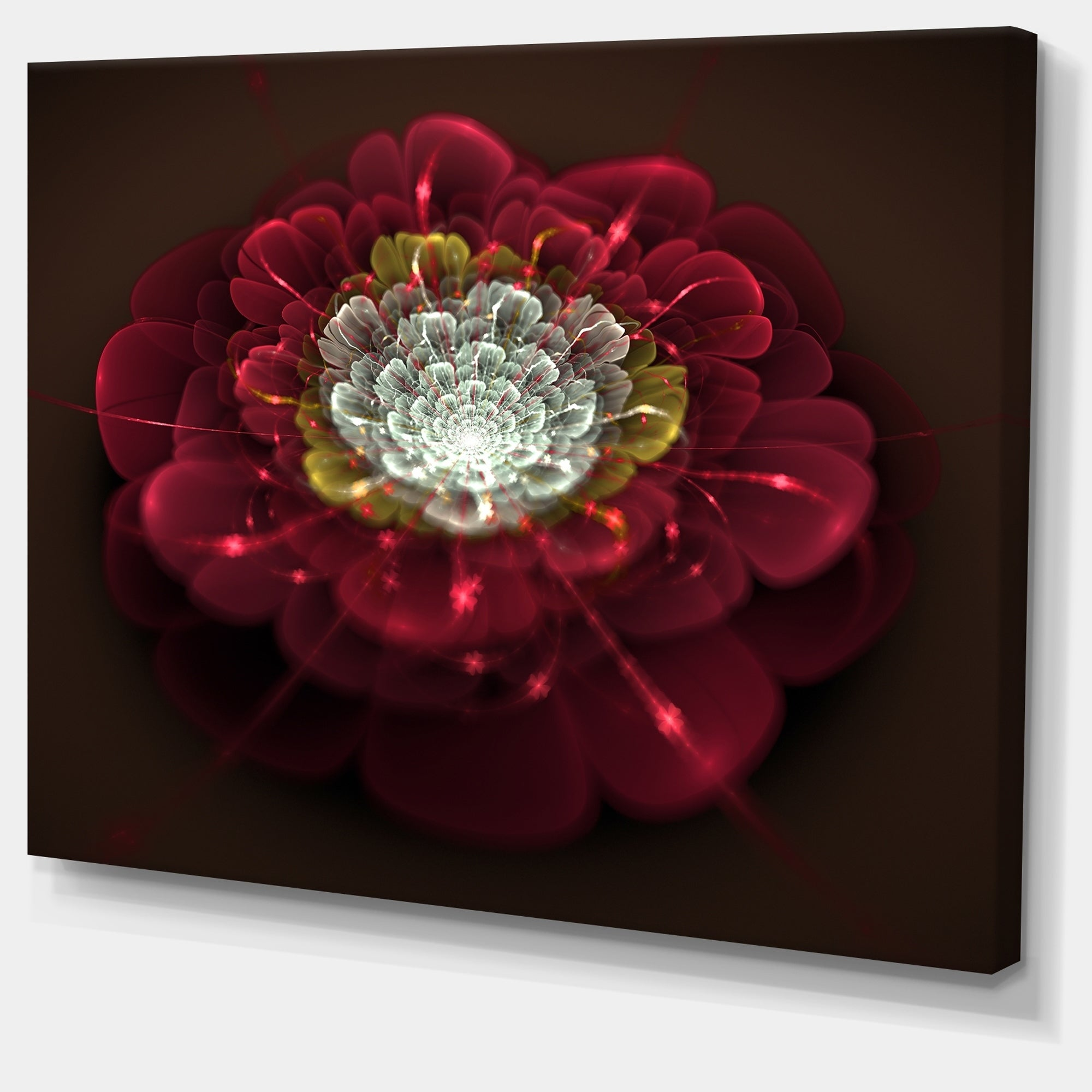 Red-Fractal-Flower-with-White-039-Floral-Digital-Art-Canvas-Small thumbnail 10