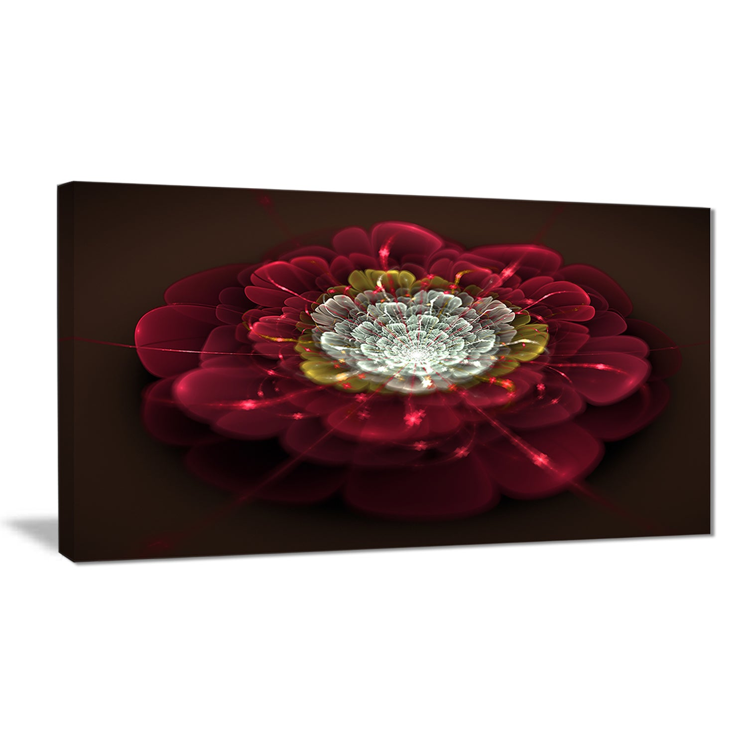 Red-Fractal-Flower-with-White-039-Floral-Digital-Art-Canvas-Small thumbnail 9