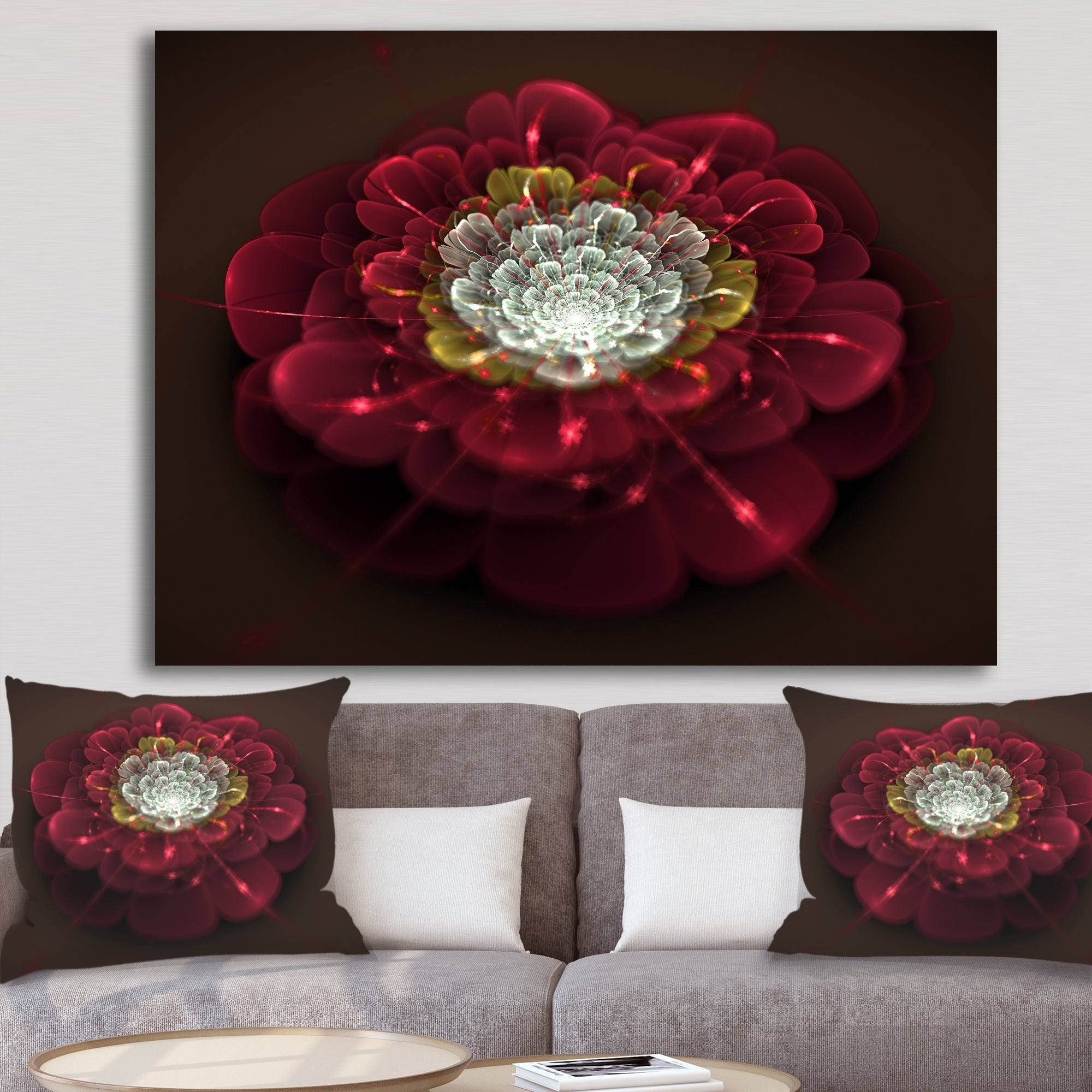 Red-Fractal-Flower-with-White-039-Floral-Digital-Art-Canvas-Small thumbnail 7
