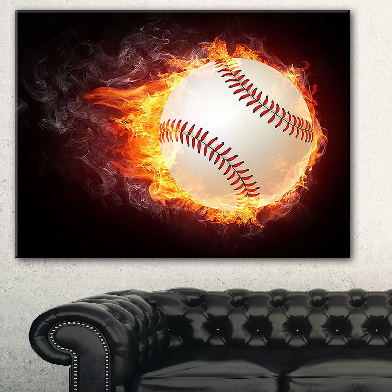 Designart 'Baseball Ball' Sports Digital Art Print on Can...