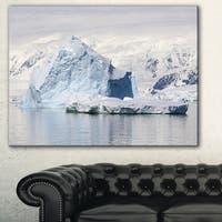 Designart 'Antarctica Mountains' Landscape Photo Canvas Art Print - Blue
