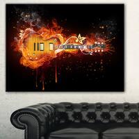 Designart 'Electric Guitar' Abstract Digital Art Canvas Print - Blue