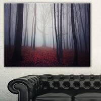 Dark Spooky Misty Forest' Landscape Photo Canvas Art Print - Red