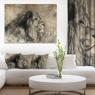 Designart 'Lion in Sepia' Digital Art Animal Canvas Print