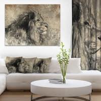 Designart 'Lion in Sepia' Digital Art Animal Canvas Print