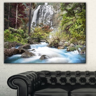 Designart 'Blue Klonglan Waterfall' Photography Canvas Print - Blue