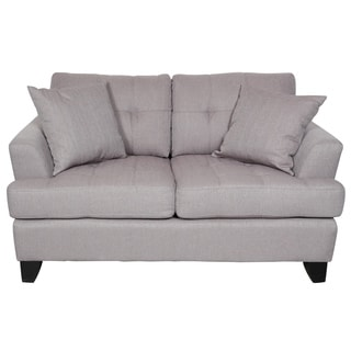 Porter Norwich Putty Taupe Modern Loveseat with 2 Throw Pillows