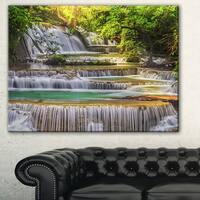 Designart 'Tranquil Erawan Waterfall' Landscape Canvas Print - Green