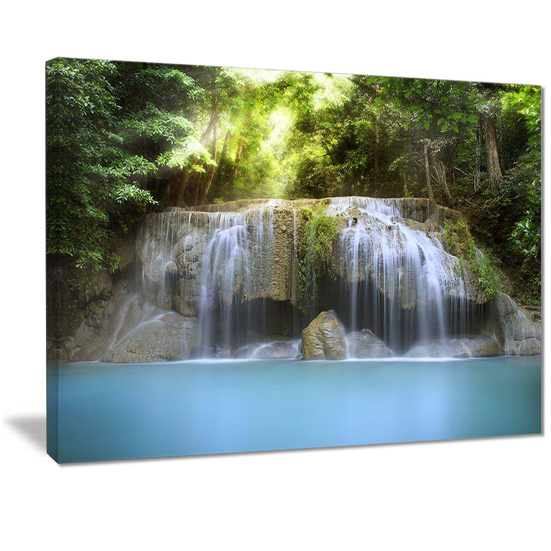 Designart Erawan Waterfall Photography Canvas Art Print Green Overstock 11623161
