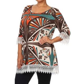 MOA Collection Plus Women's Crochet Fringe Top