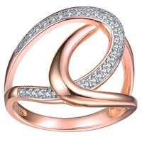 Collette Z Rose Gold Overlay Cubic Zirconia Maze Ring - White