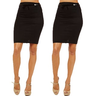 Women's High Waist Black Pencil Skirt (Pack of 2)